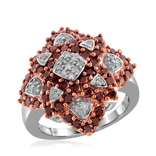 Jewelonfire Sterling Silver 2ct TDW Red and White Diamond Ring ( I2-I3)