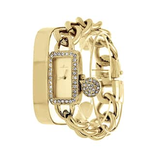 Arm Candy Via Nova Ladie's Fashion Gold Watch with a Set of 2 Bracelets|https://ak1.ostkcdn.com/images/products/11606990/P18544642.jpg?impolicy=medium