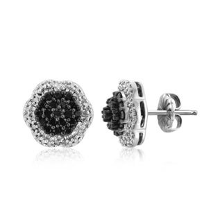 Jewelonfire Sterling Silver 1ct TDW Black and White Diamond Earrings ( I2-I3)