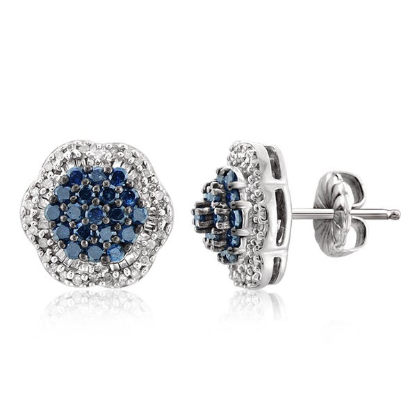 6e90d9bcd Jewelonfire Sterling Silver 1ct TDW Blue and White Diamond Cluster Earrings  s