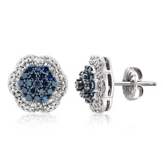Jewelonfire Sterling Silver 1ct TDW Blue and White Diamond Cluster Earrings s ( I2-I3)