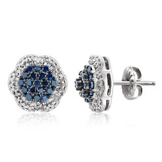 Jewelonfire Sterling Silver 1ct TDW Blue and White Diamond Cluster Earrings s|https://ak1.ostkcdn.com/images/products/11606992/P18544692.jpg?impolicy=medium