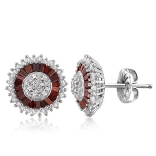 Jewelonfire Sterling Silver 1ct TDW Red and White Diamond Earrings ( I2-I3)