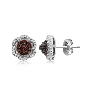Jewelonfire Sterling Silver 1/2ct TDW Red and White Diamond Earrings ( I2-I3)