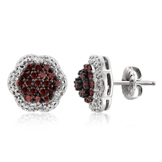 Jewelonfire Rose Gold Over Silver 1ct TDW Red and White Diamond Cluster Earrings ( I2-I3)