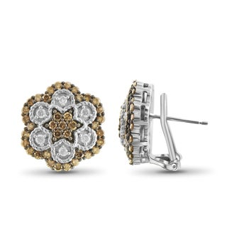 Jewelonfire Sterling Silver 1 1/2ct TDW Champagne and White Diamond Earrings ( I2-I3)