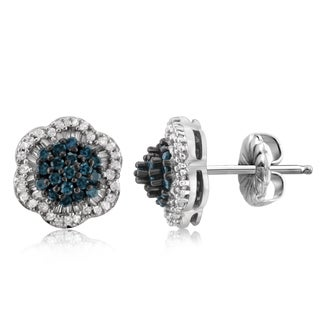 Jewelonfire Sterling Silver 1/2ct TDW Blue and White Diamond Earrings In Sterling Silver