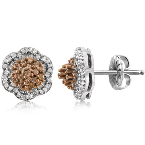 Jewelonfire Sterling Silver 1/2ct Champagne & White Diamond Earrings - Brown