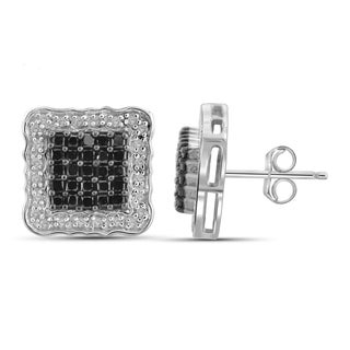 Jewelonfire Sterling Silver 1ct TDW White and Black Diamond Earrings ( I2-I3)