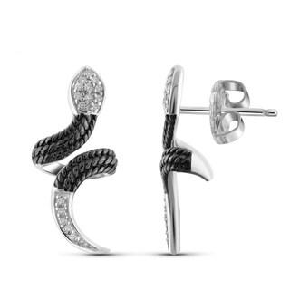 Jewelonfire Two-Tone Stering Silver 1/10ct TDW White Diamond Earrings ( I2-I3)