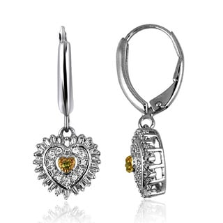 Jewelonfire Sterling Silver 1/2ct TDW Yellow and White Diamond Earrings ( I2-I3)