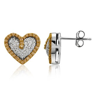 Jewelonfire Sterling Silver 1/2ct TDW Champagne and White Diamond Heart Earrings ( I2-I3)