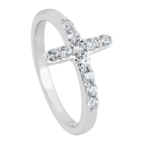 Sterling Silver Cubic Zirconia Cross Ring