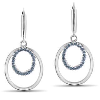 Jewelonfire Sterling Silver 1/2ct TDW Blue Diamond Earrings ( I2-I3)