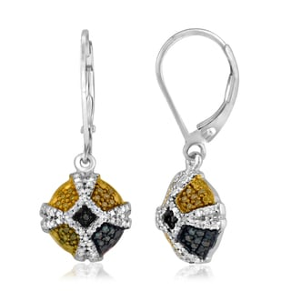 Jewelonfire Sterling Silver 1/4ct TDW Multi Color Diamond Earrings ( I2-I3)