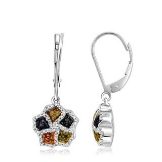 Jewelonfire Sterling Silver 1/4ct TDW Multi Color Diamond Earrings