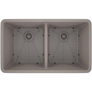 Lexicon Platinum Double Equal Bowl Quartz Composite 32 x 19 x 9 / 9 in. D Kitchen Sink (Option: Grey - Matte)