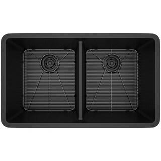 Lexicon Platinum Double Equal Bowl Quartz Composite 32 x 19 x 9 / 9 in. D Kitchen Sink