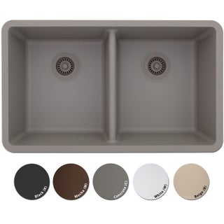 Lexicon Platinum Quartz Composite Double Equal Bowl 32 x 19 x 9/9-inch Kitchen Sink (Option: Black - Black Finish)