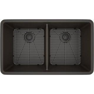 Lexicon Platinum Double Equal Bowl Quartz Composite 32 x 19 x 9 / 9 in. D Kitchen Sink