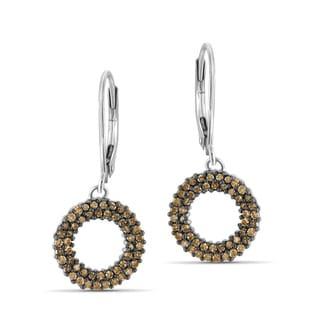 Jewelonfire Sterling Silver 1/2ct TDW Champagne Diamond Earrings ( I2-I3)