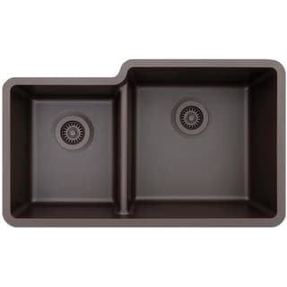 Lexicon Platinum Offset Double Bowl Quartz Composite 32 x 19 x 7-1/2 / 9 in. D Kitchen Sink