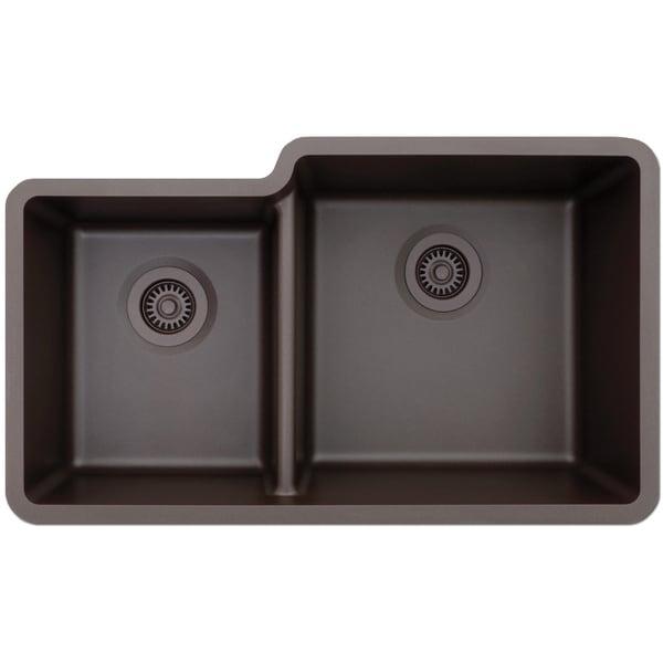 Lexicon Platinum Offset Double Bowl Quartz Composite Kitchen Sink Free Shipping Today