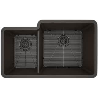 Lexicon Platinum Offset Double Bowl Quartz Composite Kitchen Sink|https://ak1.ostkcdn.com/images/products/11607102/P18544755.jpg?impolicy=medium