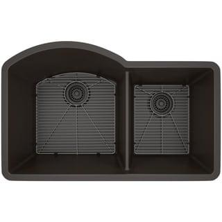 Link to Lexicon Platinum Offset Double Bowl Quartz Composite Kitchen Sink Similar Items in Sinks