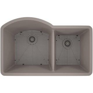 Lexicon Platinum Offset Double Bowl Quartz Composite Kitchen Sink (Option: Grey - Matte)