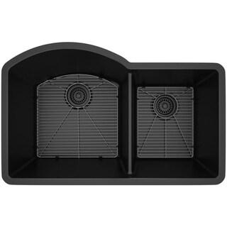 Lexicon Platinum Offset Double Bowl Quartz Composite Kitchen Sink