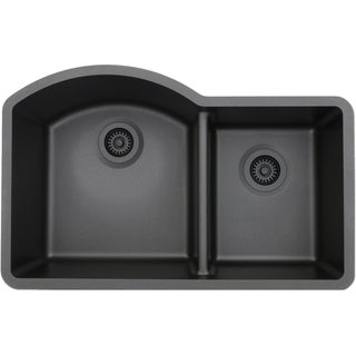 Lexicon Platinum Offset Double Bowl Quartz Composite Kitchen Sink