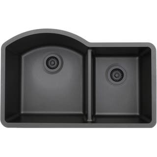 Small Double Sink Kitchen Kitchen sinks for less overstock lexicon platinum offset double bowl quartz composite kitchen sink 5 options available workwithnaturefo