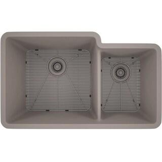 Lexicon Platinum Offset Double Bowl Quartz Composite 32 x 19 x 9 / 7-1/2 in. D Kitchen Sink (Option: Matte - Concrete)