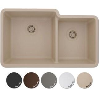 Lexicon Platinum Offset Double Bowl Quartz Composite 32 x 19 x 9 / 7-1/2 in. D Kitchen Sink