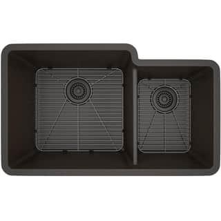 Lexicon Platinum Offset Double Bowl Quartz Composite 32 x 19 x 9 / 7-1/2 in. D Kitchen Sink|https://ak1.ostkcdn.com/images/products/11607113/P18544757.jpg?impolicy=medium