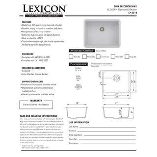 Lexicon Platinum Medium Single Bowl Quartz Composite 23 x 18 x 8-1/2 in. D Kitchen Sink