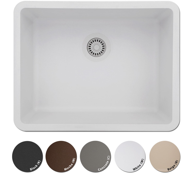 Lexicon Platinum Medium Single Bowl Quartz Composite Kitchen Sink | eBay
