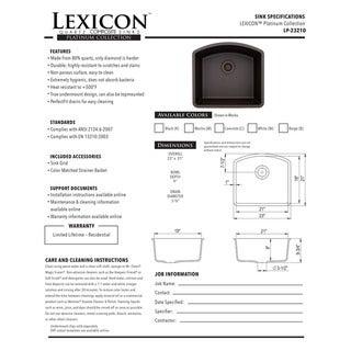 Lexicon Platinum D-Shaped Single Bowl Quartz Composite 23 x 21 x 9 in. D Kitchen Sink