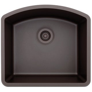 Lexicon Platinum D-Shaped Single Bowl Quartz Composite 23 x 21 x 9 in. D Kitchen Sink