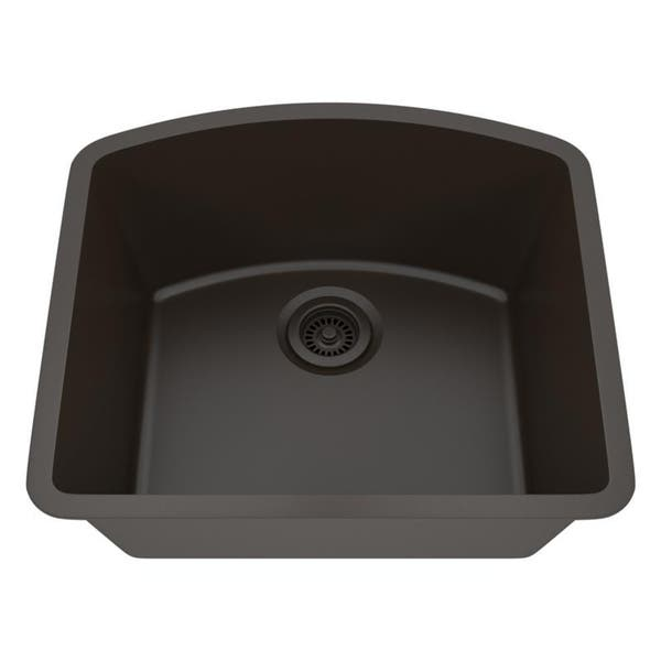 Shop Lexicon Platinum D-shaped Single Bowl Quartz Composite Kitchen Sink -  Overstock - 11607116