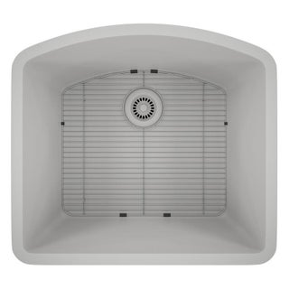 Lexicon Platinum D-shaped Single Bowl Quartz Composite Kitchen Sink (Option: White - Matte)