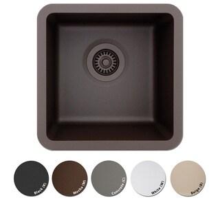 Lexicon Platinum Small Single Bowl Quartz Composite 15 x 15 x 7-1/2 D Kitchen Sink