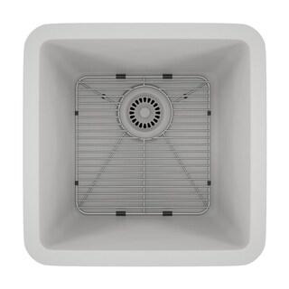 Lexicon Platinum Small Single Bowl Quartz Composite Kitchen Sink (Option: White)