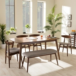 Baxton Studio Edna Mid-century Modern 6-piece Medium Oak Finishing Dining Set