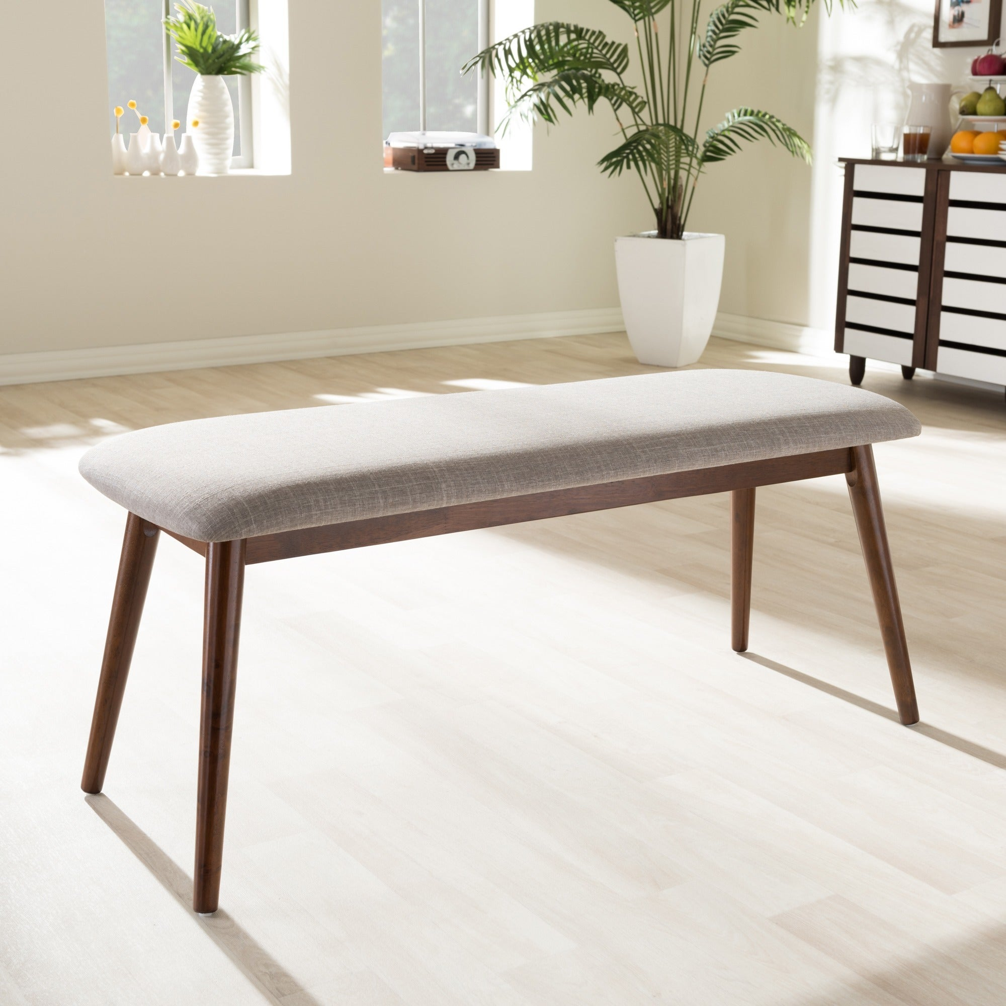 Carson Carrington Haapajarvi Mid Century Modern Medium Oak Dining Bench