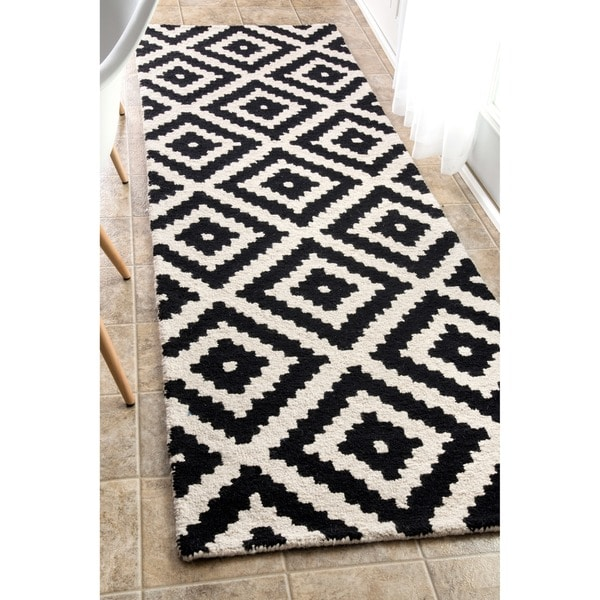 Nuloom Handmade Abstract Wool Fancy Pixel Trellis Runner