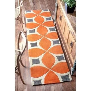 Palm Canyon Plaza Handmade Runner Orange Area Rug (2'6 x 10')