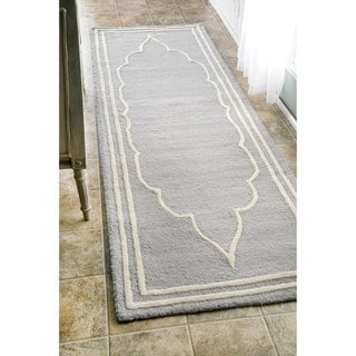 nuLOOM Handmade Abstract Fancy Border Wool Grey Runner Rug (2'6 x 8')