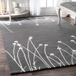 nuLOOM Handmade Luna Swaying Reeds Wool Grey Runner Rug (2'6 x 8')